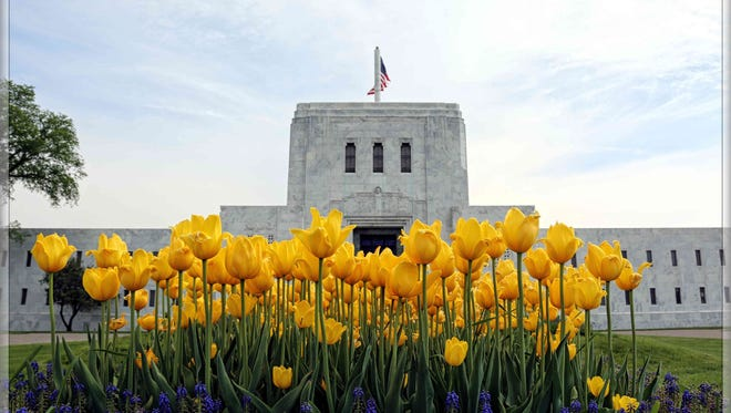 Lenin Kuchipudi of Farmington Hills won third place in 2016 for his photo of the White Chapel mausoleum with tulips.