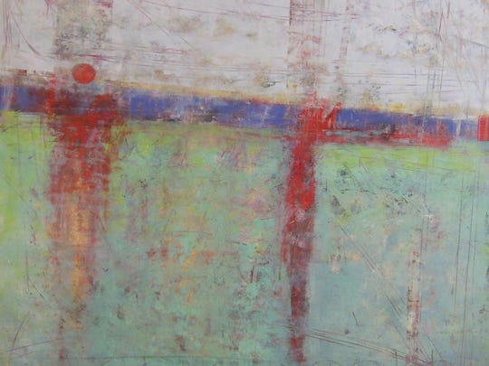 """""""Challenges,"""" painting by Ginnie Cappaert of Cappaert Contemporary Gallery, one of the sites in the Aug. 4 Progressive Art Crawl."""