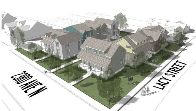 A rendering of Lacy Court, which is planned at the corner of 23rd Avenue North and Lacy Street.