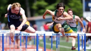 Morris Knolls senior Dan DeBlieck heads for the finish line in the NJSIAA North 1 Group IV high hurdles.