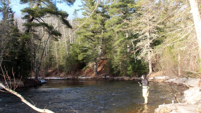 Anglers fish for steelhead on March 30 on the Brule River near Brule.