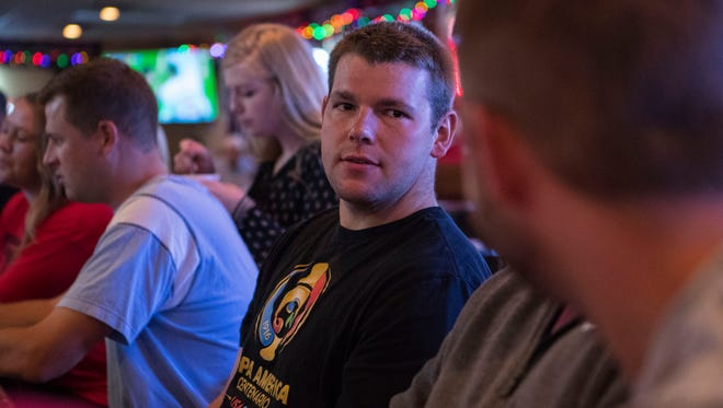 Andrew Berg watches the Spain vs. Iran World Cup match at Gateway Lounge in Sioux Falls, S.D. on Wednesday, June 20, 2018.