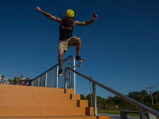 Sam Hunt uses one of the new metal rails while visiting Eagle Skate Park in Cape Coral on Friday afternoon, April 6, 2018.