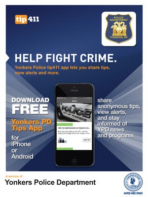 The poster for the Yonkers Police Department's new smart phone app.