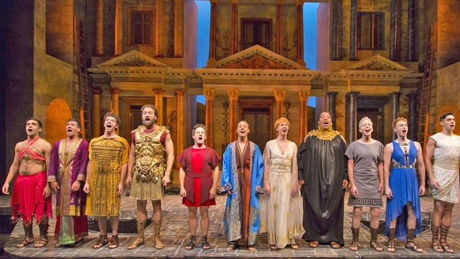 """As crafty slave Pseudolus, Christopher Fitzgerald heads up the company of """"A Funny Thing Happened on the Way to the Forum,"""" now onstage at Two River Theater."""