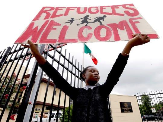 Protesta a favor de refugiados en Estados Unidos.