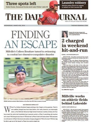 The Daily Journal won eight awards from the New Jersey Press Association. The first-place honors included Scholastic Sports Portfolio, awarded to Josh Friedman for a collection of stories including the one shown on this front page profiling Millville swimmer Colleen Renshaw.