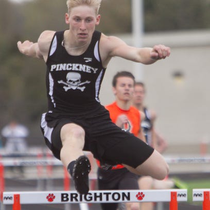Brighton's Shannon McGrath takes first in the 100m dash in the meet against Pinckney.