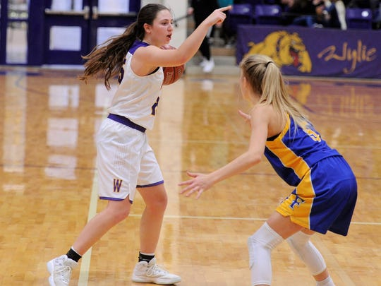Wylie's Lauren Fulenwider directs traffic during Tuesday's 50-48 win against Wolfforth Frenship. Fulenwider finished with a team-high 20 points, connecting on six 3-pointers.