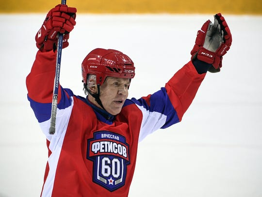 Slava Fetisov scores a goal during a game for his 60th birthday in Moscow on April 20, 2018.