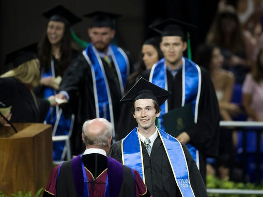 Eric Colten Donihoo was among the graduates on Sunday at Florida Gulf Coast University's commencement ceremonies at Alico Arena in Fort Myers. Donihoo earned a baccalaureate degree from FGCU's Lutgert College of Business.