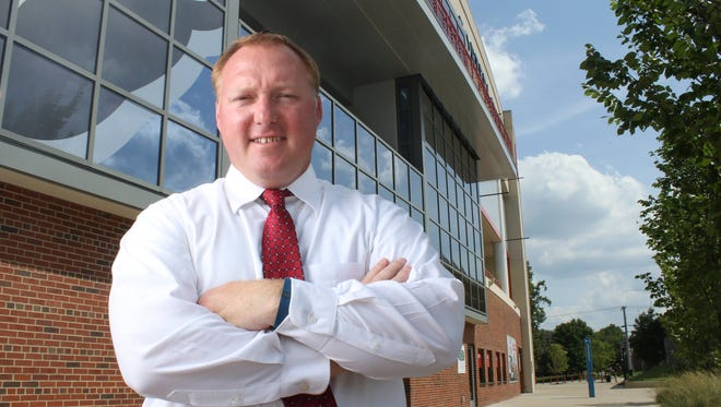 Austin Peay Athletics Director Ryan Ivey stands in front of Fortera Stadium.