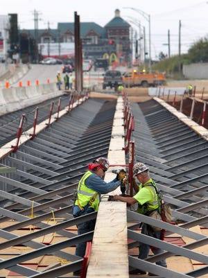 Ironworkers Greg Hankins (left) and Jim Fischer secure a cable anchor for their safety harnesses to a structural steel beam as they work on the Interstate 71/Martin Luther King Boulevard interchange revamp project. View is looking west from Gilbert Avenue to Reading Road, Walnut Hills.