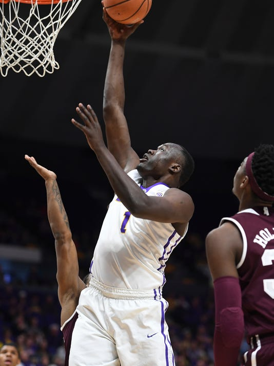 LSU's Duop Reath scores a layup during the first half of an NCAA college basketball game against Mississippi State, Saturday, March 3, 2018, in Baton Rouge, La. (Patrick Dennis/The Advocate via AP)