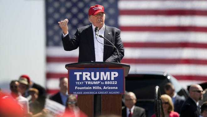 Republican front-runner Donald Trump speaks during his rally at Fountain Park in Fountain Hills in March.