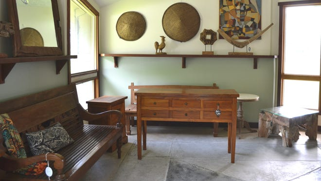 A room full of Indonesian furniture at Hunt and Lane's space on Route 611 in Berlin.