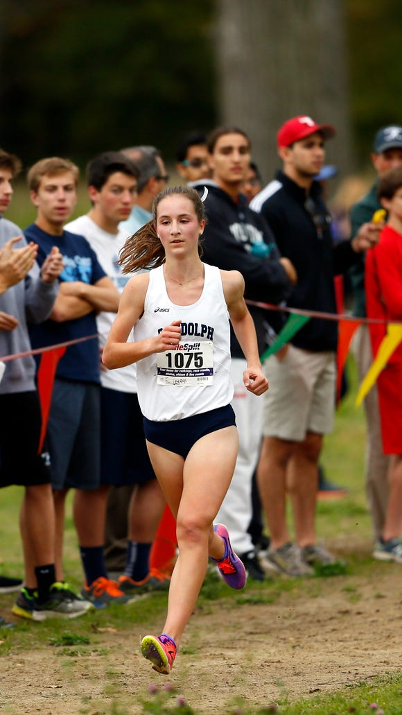 Randolph junior Abby Loveys comes in to the finish of the Morris County cross country championships at the new Central Park of Morris County course. Loveys won with a time of 17:49:65. October 25, 2017. Morris Plains, New Jersey