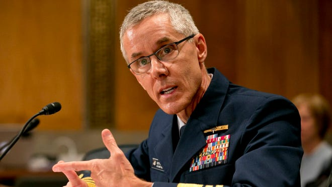 Coast Guard Vice Adm. Peter Neffenger testifies June 10, 2015, at the Senate Homeland Security Committee on his nomination to head the Transportation Security Administration.