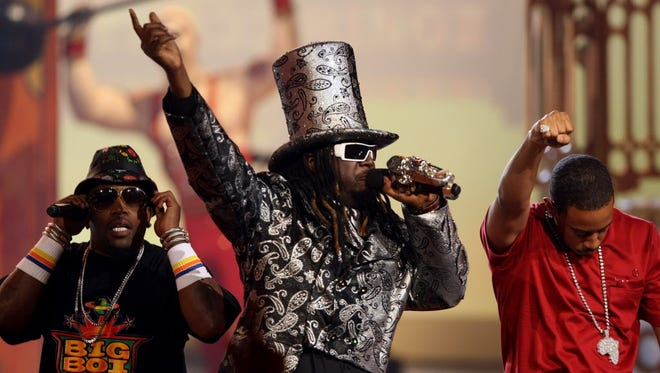 Rapper and singer T-Pain, (center, pictured with Ludacris, right, and Big Boi, left) will headline Summerfest's Uline Warehouse stage July 5.