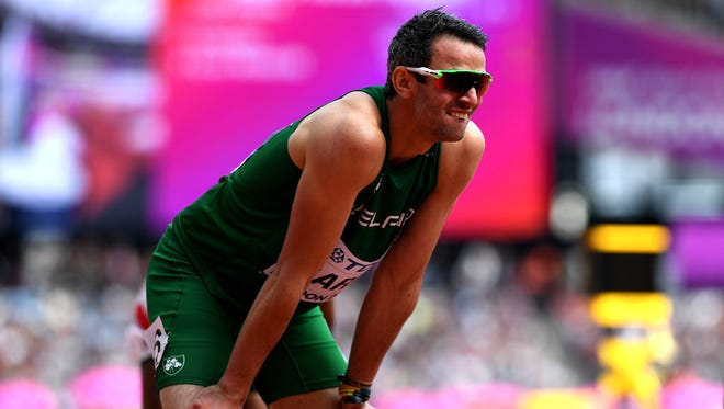 Thomas Barr of Ireland competes in the Men's 400 meters hurdles during day three of the 16th IAAF World Athletics Championships in London on Aug. 6, 2017.