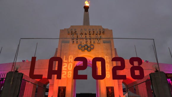 An LA 2028 sign is seen Sept. 13, 2017, in front of