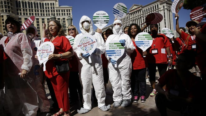 Nurses protest in Las Vegas in September, saying U.S. hospitals aren't ready for an Ebola outbreak.