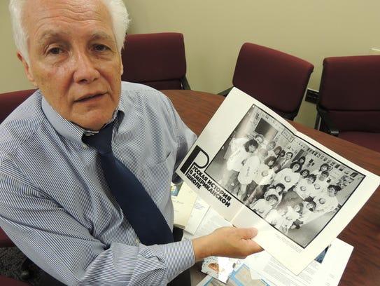 Former Ramapo High School teacher Don Cairns shows