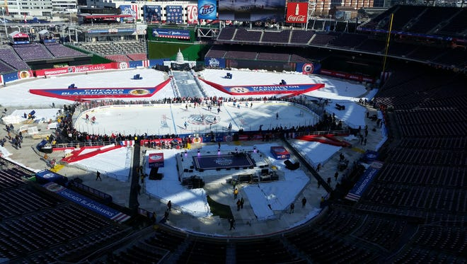 How the rink looked at noon ET the day before the game.