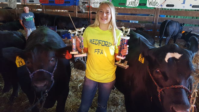 Katlyne Henrichs of Medford recently donated 10% of the proceeds from the auction of her Grand Champion steer at the 2016 Taylor County Fair to the Aspirus Medford Foundation to support suicide prevention efforts.
