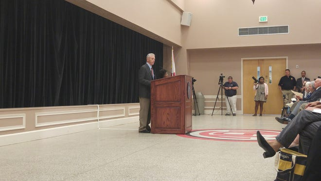 Morris Dees, co-founder of the Southern Poverty Law Center, speaks during Troy University's annual journalism symposium on Wednesday in Troy.
