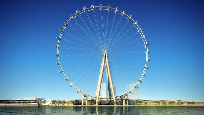 Rendering of The New York Wheel, which is projected to open in May 2017 on New York City's Staten Island. Newport on the Levee officials and its owner are considering adding a smaller wheel to the riverfront.