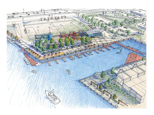 A rendering of the revamped Shipyard development project.