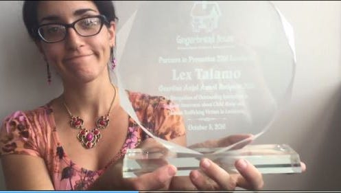 Times reporter Lex Talamo was recognized by the Gingerbread House for her contributions to children