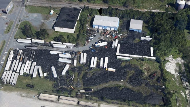 This satellite photo of Anderson's Recycling near Delmar shows what DNREC says is an illegal pile of thousands of scrap tires.
