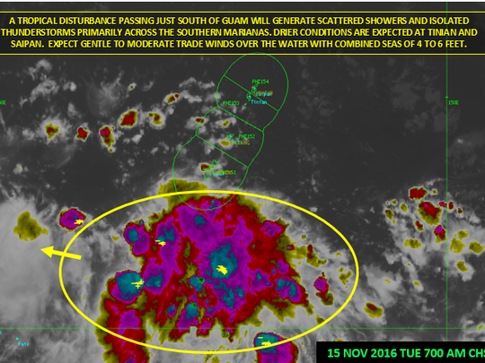 A disturbance passing south of Guam will generate scattered showers and isolated thunderstorms primarily over the southern coastal waters of Guam.