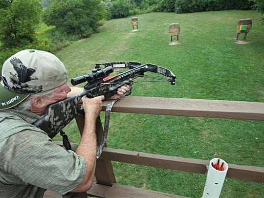 A crossbow is sighted-in at a range.
