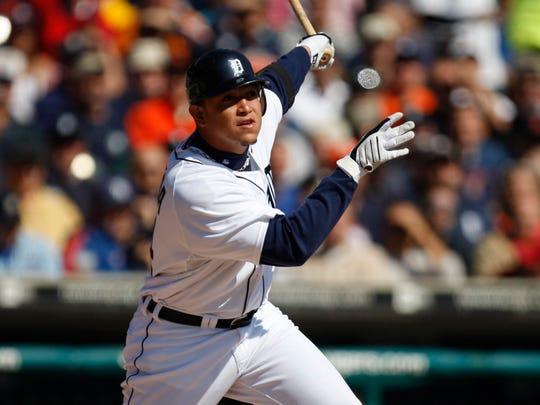 Detroit Tigers Miguel Cabrera singles in the second
