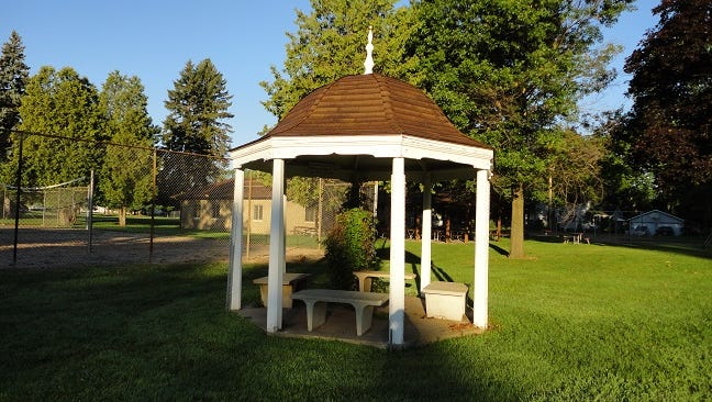The gazebo has been restored and now sits in the Edwards-Alexander Memorial Park at the south end of the village.