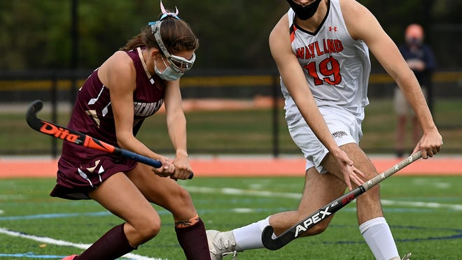 Concord-Carlisle's Ela Braceras, left, winds up as Wayland's James Waldron prepares to block during the first half of Wednesday's game at Wayland High School.