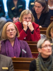 Rep. Mary Sullivan, D- Burlington, listens as Gov. Phil Scott delivers his State of the State address at the Statehouse in Montpelier on Thursday, January 4, 2018.