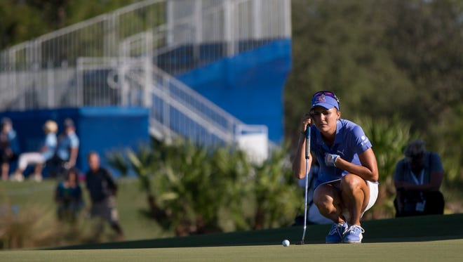 LPGA Tour pro Lexi Thompson on the eighteenth hole during the final round of the CME Group Tour Championship at Tiburón Golf Club Sunday, Nov. 19, 2017 in Naples. Thompson finished the tournament tied for second place with a score of fourteen-under par.