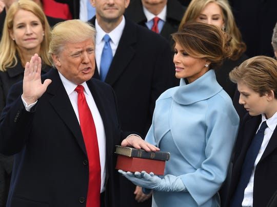 U.S. President-elect Donald Trump is sworn in as President on January 20, 2017 at the US Capitol in Washington, DC. / AFP PHOTO / Mark RALSTONMARK RALSTON/AFP/Getty Images