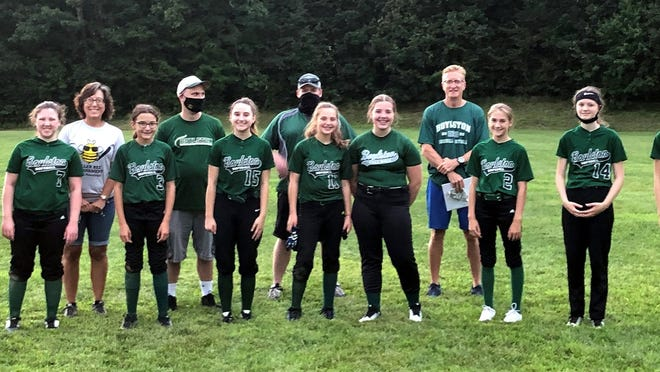 The Boylston U-13 team: (back row, from left) coaches Gail Villani, Chuck Abdella, Blair Brissette and Craig Cogswell; (front, from left)  Layla Chehade, Izzy Brissette, Sophia Villani, Zoe Abdella, Molly Abdella Elyse Schaffer, Lydia Anderson, Emily Spencer and Chloe Cogswell. [Photo from The Item]                 Missing from photo- Rylee Walton, Molly Simler, Bella Wetherell, and Paige Agurkis.