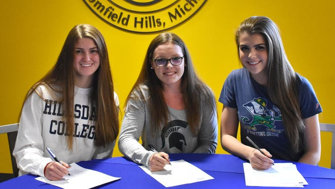 Marian seniors (left to right) Maggie DePorre, Lauren Biglin and Lauren Wenzel signed National Letters of Intent last week.