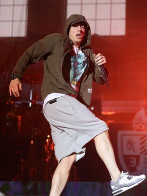 Eminem performs at Lollapalooza in Chicago's Grant Park on August 2014.