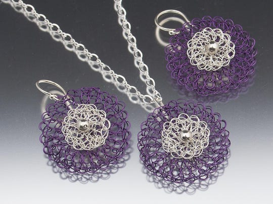"Hand-crocheted necklace and earrings by Lisa Cottone, part of ""The Ikebana Show"" on April 9 at Plum Bottom Pottery & Gallery."