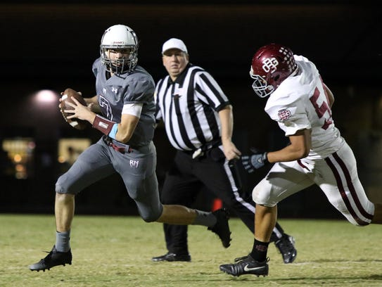 Rancho Mirage's quarterback David Talley looks to pass