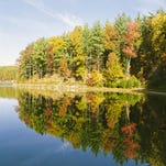 Fall colors start to show on the trees at Walden Woods Pond in Lincoln, Mass., in this photo from 1999.