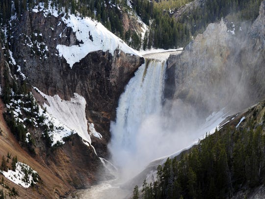 View of the Lower Falls at the Yellowstone Grand Canyon