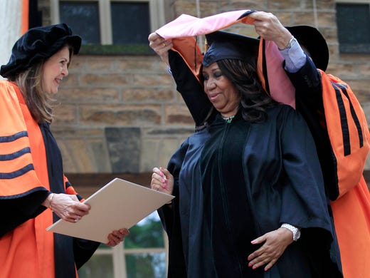 Aretha Franklin stands on stage at Princeton University